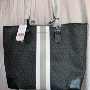 Eva Large Logo Stripe Tote Bag